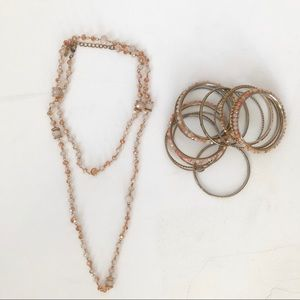 Cara NY Pink and Gold /Copper Necklace and Bangles